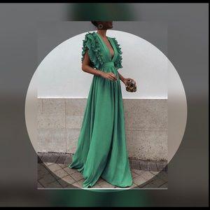 V-neck Open Back Solid Color Maxi Dresses